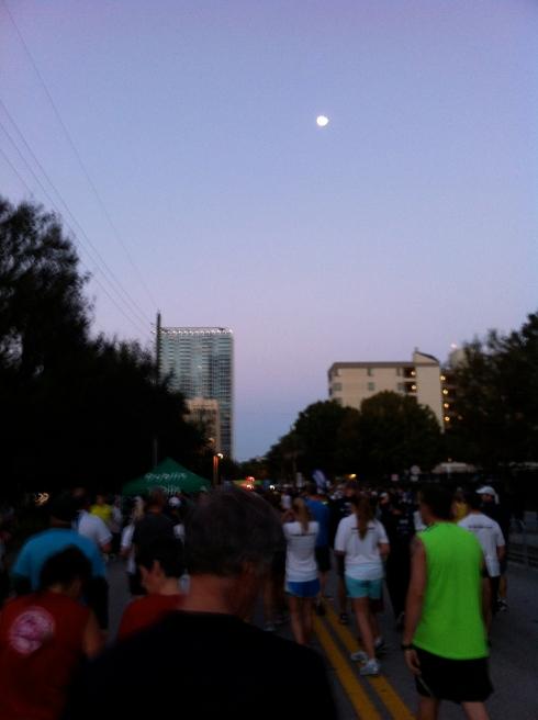 Walking to the start.